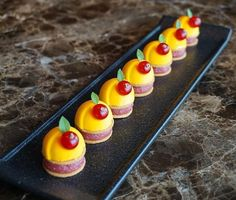 Peach and redcurrant petit fours 🍑🍃😋 #fresh #white #yellow #peach #mousse #tahiti #vanilla #sable #confit #blood #peche #redcurrant #french #fruit #petitfours #sogood #fourseasons #hotel #hongkong #caprice #restaurant #nicolaslambert #hk #pastry #chef #cute #minions #patisserie #colors #season .