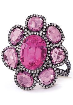 Pink Tourmaline and Sapphire Ring by Cellini Jewelers