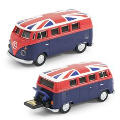 Shop now for a VW Union Jack Campervan 8GB USB Memory Stick. Officially licensed by Volkswagen, open up the boot and slide the USB connector out and you're ready to go. Complete with 8GB of storage, carry case, USB extention cable, this VW campervan USB still can easily store you data and travel where ever you need to be. The headlights also flash when the data is accessed on the USB stick, how cool is that!