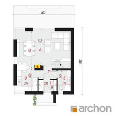 Projekt domu Dom na wzgórzu (N) - ARCHON+ Floor Plans, Houses, Plants, Living Room, Projects, Homes, Plant, Home, Planting