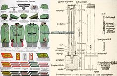 Nazi uniforms and hand grenade:  1938/39 edition manual has over 500 illustrations in the text and ten full-color pages of detailed illustrations of things like visor caps, uniforms, shoulder boards, collar tabs, proficiency badges, sword and bayonet knots, insignia, medals, flags, etc., etc