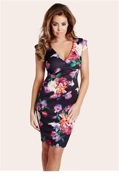 Jessica Wright Pandora Floral Wrap Front Pleat Dress