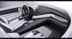 Jaguar 2 seater design studiesDivided interior:-driver oriented cockpit -luxurious passenger area.