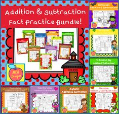 This bundle features various worksheets to help your students practice addition and subtraction math facts. This bundle is designed to be used as mini-lessons, supplements to larger lesson plans, extra practice, or as a math center. Each worksheet focuses on basic addition and subtraction facts and are accented with cute graphics. #mca3designs #math #tpt #tptbundles #mathfacts #teachingresources School Resources, Math Activities, Teacher Resources, Teaching Ideas, Holiday Activities, Teaching Math, Math Facts, Teacher Tools, Addition And Subtraction
