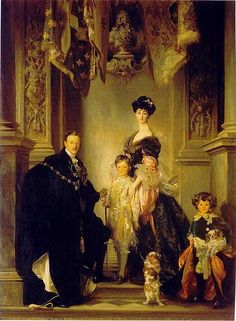 TheDuke and Duchess of Marlborough with their children and their Blenheim spaniels.