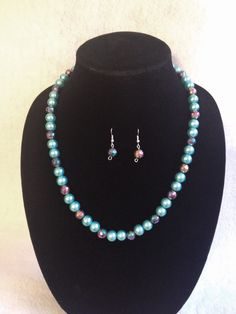 Pearl #Matinee Necklace Set (glass-pearl and fashion beads) www.raescraft.com