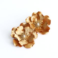 Gold Flower Hair Clips Flower Hair Clip Gold Head by JerseyBride