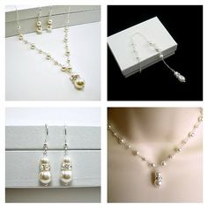 Bridal pearl jewelry set Pearl wedding by StarringYouJewelry #bridejewelry #weddingjewelry