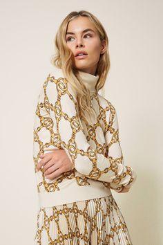 Twin Set Damen Rollkragenpullover Natur Weiss | SAILERstyle Denny Rose, Twin Set, Elegant, Designer, Kimono Top, Dresses With Sleeves, Beige, Tote Bag, Long Sleeve
