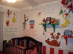 seuss nursery for twins Nursery Twins, Elephant Nursery, Nursery Themes, Nursery Room, Baby Room, Nursery Decor, Nursery Ideas, Bedroom, Dr Seuss Wall Decals