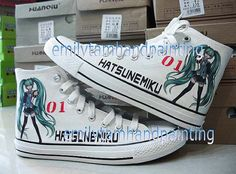 Custom VOCALOID Shoes Hatsune Miku Sneakers by emilytamcustomshoes