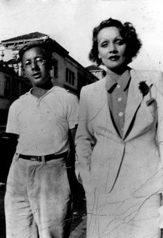 A picture of teenage Ray Bradbury with Marlene Dietrich