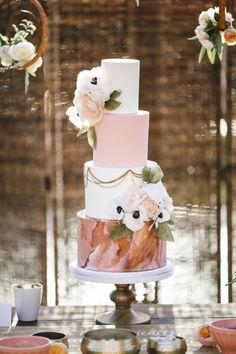 Modern blush and white cake: http://www.stylemepretty.com/california-weddings/rancho-santa-fe/2016/05/18/see-why-this-california-wedding-is-a-treasure-trove-of-pretty/ | Photography: Josh Elliott Studios - http://joshelliottstudios.com/