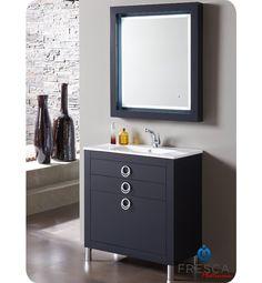 Due 32 Inch Glossy Cobalt Modern Bathroom Vanity