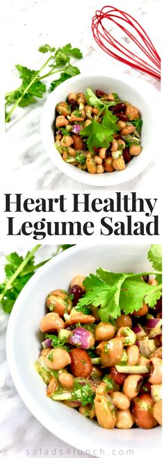 THIS LEGUME SALAD IS DELICIOUS! Perfect year round, this fibre-rich salad is a great way of incorporating legumes into your diet. This can be served as a side dish, perfect for potlucks or to make it a main for lunch serve it over spiralized cucumbers. | Legume Salad | Easy Salad | Picnic Salad | www.salads4lunch.com #saladrecipe #beansalad #legumesalad #hearthealthy