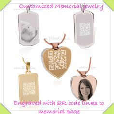 www.tributecode.com Beautiful Engraved memorial jewelry with QR code that links to online memorial page. Honor, view and share the treasured memories left behind by our departed loved ones ❤️
