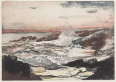 Prout's Neck Surf On Rocks By Winslow Homer . Truly Art Offers Giclee Unframed Prints on Paper, Canvas Art, and Framed Art in all our Collections. Pastel Watercolor, Watercolor Paintings, Watercolors, Winslow Homer Paintings, Oil On Canvas, Canvas Art, Winter Landscape, New Art, Art Museum