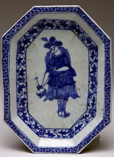 Tray  Iran, Early 18th century Faience; painting with cobalt. 21 x 15.3 cm The State Hermitage Museum