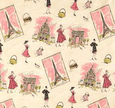 Waverly, 'Paris', 1950's textile