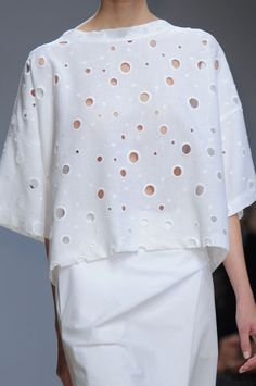 White perforated top; runway fashion details // Damir Doma Spring 2014  | @castaner