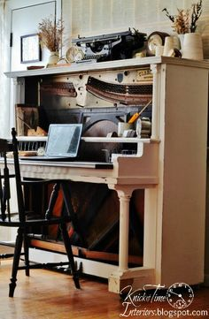 Repurposed-Antique-Piano-Desk. @Kate Apple . this is even better than the bookcase idea!!
