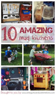10 amazing mud kitchens for #outdoorplay. Learn how to make a #mudkitchen, what resources to use, how to make #mud and safety info!