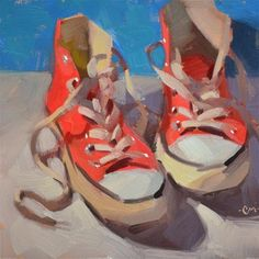 "Daily Paintworks - ""Red Chucks"" - Original Fine Art for Sale - © Carol Marine Painting Still Life, Still Life Art, Guache, Fine Art Auctions, Art Original, Art Graphique, Fine Art Gallery, Beautiful Paintings, Art Oil"
