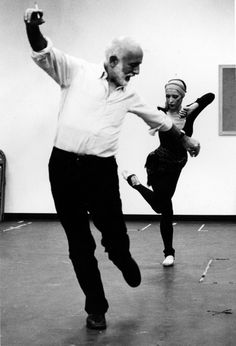 "Natalia Makarova rehearsing ""Other Dances"" with Jerome Robbins for  ""Dance in America."" 1980"