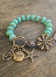 "Mermaid & Starfish Knotted Leather Wrap Bracelet ""Hope"" Beach Chic Jewelry $35.00"