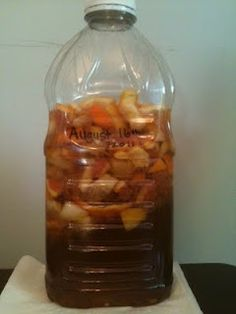 enzyme cleaner made from fruit scrapes, brown sugar and water.