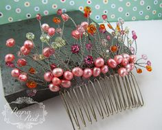 Summer Tropics Bridal Hair Comb, brights palette, freshwater pearls, Swarovski crystal, hair accessory, wedding, bride - reynared reynared by ReynaRed on Etsy