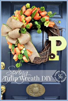 Spring Projects & Ideas - Tulip wreath by Stone Gable Easy Burlap Wreath, Burlap Wreath Tutorial, Diy Wreath, Door Wreaths, Wreath Ideas, Spring Projects, Spring Crafts, Tulip Wreath, Hydrangea Wreath