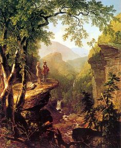 """Asher B. Durand (American, 1796–1886), Kindred Spirits, 1849. Crystal Bridges Museum of American Art """"Durand is noted for this painting which shows fellow Hudson River School artist Thomas Cole and poet William Cullen Bryant in a Catskills landscape...."""