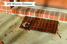 diy wooden doormat, diy, woodworking projects