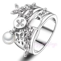 Luxury Lock & Key Silver Plated Pearl Ring New Silver Plated Rings Jewelry Rings