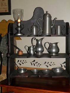 some pewter... Curio Cabinets, Wall Cabinets, Primitive Christmas, Primitive Decor, Colonial Decorating, Antique Pewter, Primitives, Old World, Display Ideas