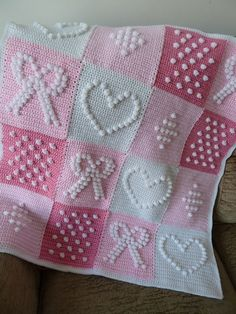 Pink and White Bobbly Squares Blanket. Pattern from the book 200 Crochet Blocks by Jan Eaton.