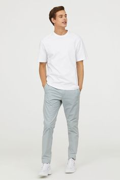 Chinos in soft, washed cotton twill with a zip fly, side pockets and welt back pockets. Slim fit which is relaxed over the thighs and tapers from the knees Summer Outfits, Casual Outfits, Casual Wear For Men, Slim Fit Chinos, Light Turquoise, Menswear, Mens Fashion, Pick Art, Lisa Robertson
