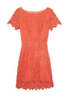 Gracia Coral Short Sleeve Lace Dress