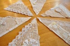 Vintage Lace and Linen bunting- Wedding -Shabby Chic Decor- photo booth prop- Recycled Vintage Flags