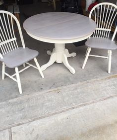 Refinished antique round table and two chairs. Used Annie Sloan's old white chalk paint and a sun bleached stain. $150.