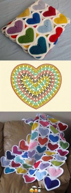 Gráfico coração em crochê - crochet hearts pattern