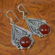 EXCLUSIVE SILVER RED ONYX EARRING 11.65g JEWELLERY SJER0002 #Handmade #Earring