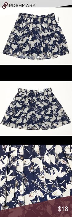 "Old Navy Pleated Mini Blue Bird Skirt Medium New with tags, this adorable skirt 100% polyester with a 100% polyester lining. Back of the waist is elastic. Flat across waist approx 16"", unstretched, length approx 18"". Old Navy Skirts Mini"