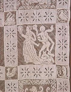 Dentelle : courtepointe filet brodé (aiguille) Danse macabre vers 1600 - 1630
