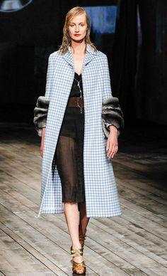 Fur Trimmed Sleeves Square Print #Coat #Fashion #Trend for Fall Winter 2013 Prada #fall2013 #trendy #print
