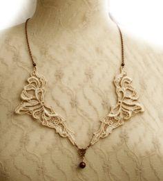 lace necklace ANNA vintage ecru   tinaevarenee on Etsy