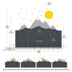Scandinavian mountain with sun and gold triangles Wall Decal wall instant proces. - Scandinavian mountain with sun and gold triangles Wall Decal wall instant processing ready to apply - Baby Bedroom, Baby Boy Rooms, Baby Boy Nurseries, Baby Room Decor, Kids Bedroom, Bedroom Decor, Nursery Room, Kids Rooms, Ideas Dormitorios