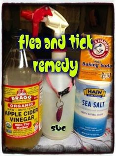 ❖ Flea & Tick Remedy ❖  ....     8 oz apple cider vinegar 4 oz warm water 1/2 tsp salt 1/2 tsp baking soda Spray Bottle  Mix dry ingredients first, then slowly add to wet as the vinegar and baking soda will react slightly. Put into spray bottle and spray pets down. Be careful not to get in pets eyes.