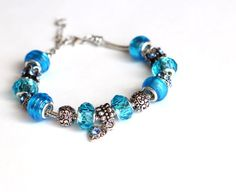 Blue Bracelet Kit European Crystal Bead Assortment with Snake Chain - (Choose Size) - Ships IMMEDIATELY from California - BR01